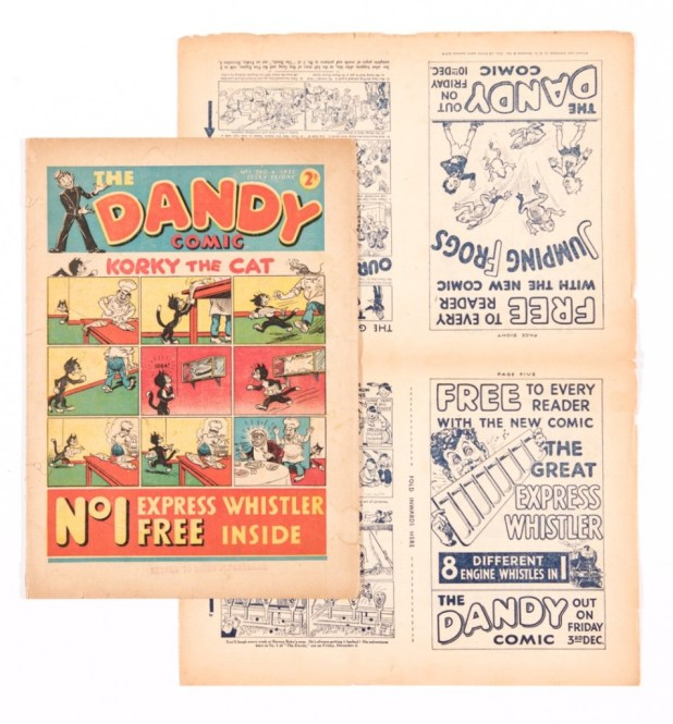 Dandy Comic Number 1 (1937) with original 4-page flyer for Dandy Numbers 1 and 2 (1937). Featuring the first adventures of Korky The Cat, Desperate Dan and Keyhole Kate. The Flyer is a mini-comic in its own right.