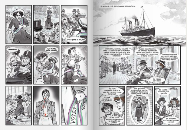 Sample art from the Spanish language version of Sally Heathcote Suffragette.