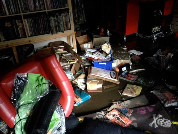 Damages inside 2 Tone Comics after flooding in December 2015. Photo: 2 Tone Comics