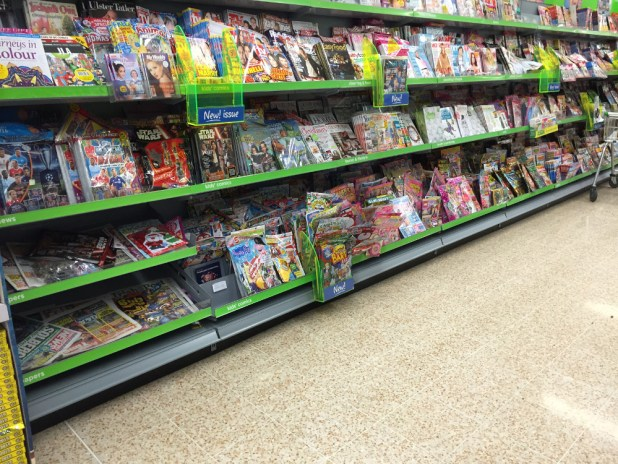 Comics in ASDA, Belfast 2015