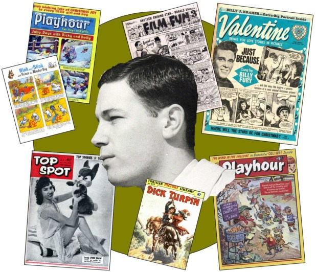 A young Brian Woodford and some of the Amalgamated Press titles that he worked upon between 1955 and 1962, including Top Spot