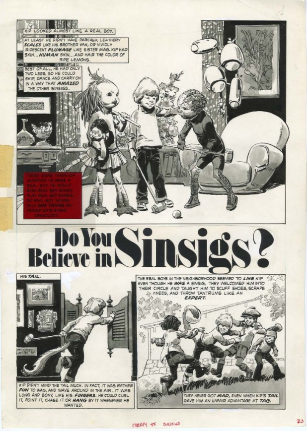 "The opening page of the eight-page story ""Do You Believe in Sinsigs?"" drawn by Luis Bermejo for Creepy #88, published by Warren in 1977."