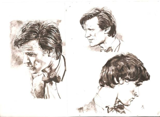 """Character studies of Matt Smith by Richard Piers Rayner, tests to see if he could capture his Doctor Who likeness. """"It's from a few years ago but there are elements here that I've never bettered,"""" he feels. Art © Richard Piers Rayner"""