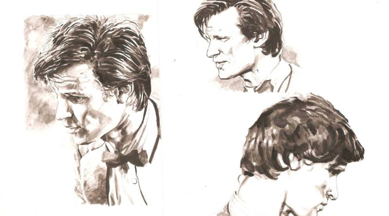 "Character studies of Matt Smith by Richard Piers Rayner, tests to see if he could capture his Doctor Who likeness. ""It's from a few years ago but there are elements here that I've never bettered,"" he feels. Art © Richard Piers Rayner"