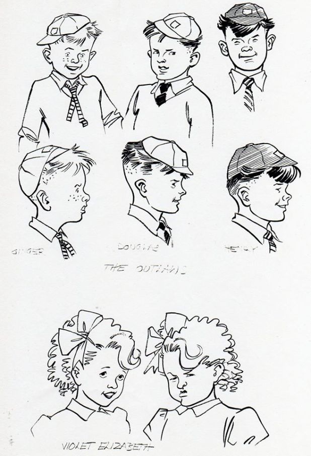 The Outlaws and Violet Elizabeth. Art: Maureen and Gordon Gray