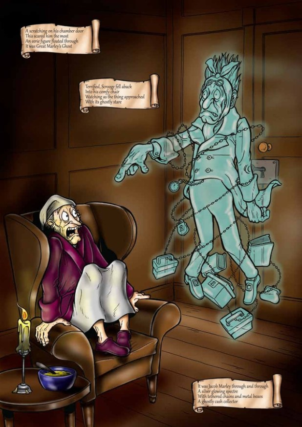 Marley's Ghost come a-haunting in A Christmas Carol by Joe Mathews and David McCluskey