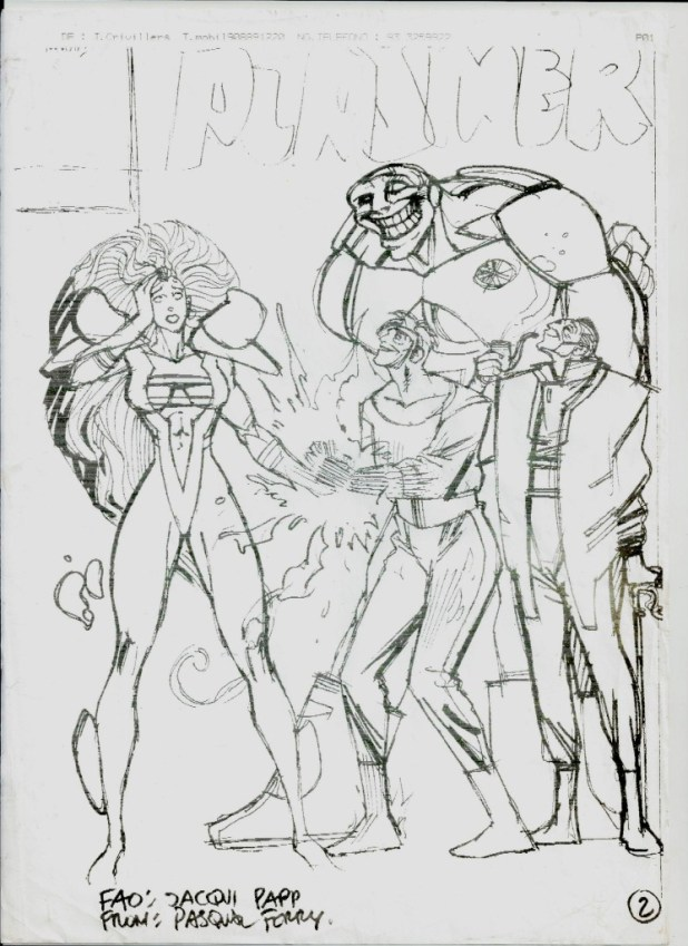 Pasqual Ferry's draft cover for the first issue of a second planned series of Plasmer, written by Glenn Dakin