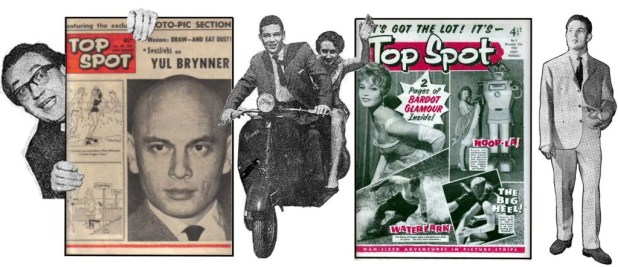 David Roberts and Brian Woodford with copies of Top Spot in its varying cover looks. Riding pillion on the motorbike is Eileen Earl (or Earle), who had been Leonard Matthews' secretary up until the time Elizabeth Flower assumed that role. Montage by Roger Perry