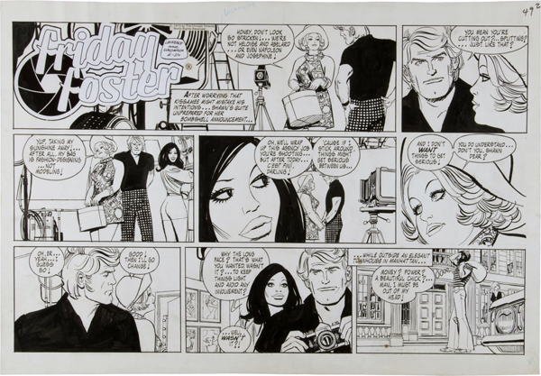 """An example of the """"Friday Foster"""" strip, created by writer Jim Lawrence, illustrated by artist Jorje Longaron, and syndicated by The Chicago Tribune Syndicate, which went from comic book to cult movie and more."""