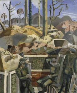 Spring in the Trenches, Ridge Wood, 1917, painted in 1918 by by Paul Nash. Image: IWM (Imperial War Museums).