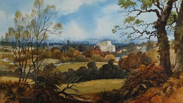 A view of Romsey Abbey in one of Thelwell's beautiful local landscapes