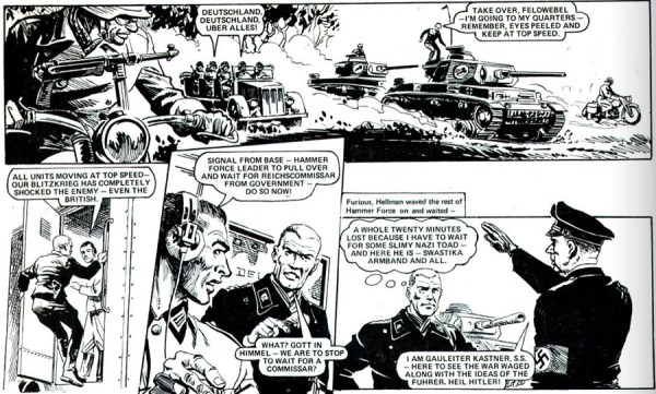"""Hellman of Hammer Force"", written by Gerry Finley-Day, art by Mike Dorey"