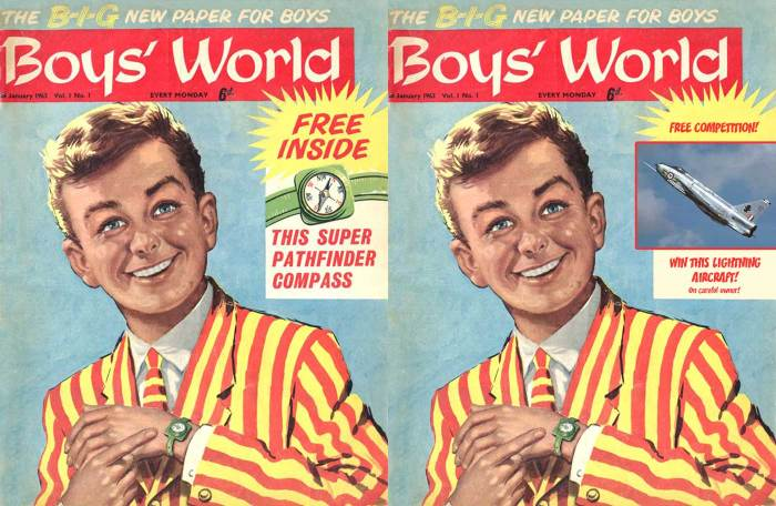 A re-imagining of Jim Kenner's possible cover for the first issue of Boys' World, alongside the actual cover (left)
