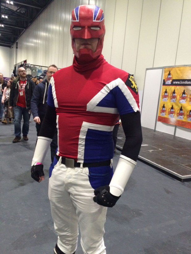Glen Williams as Captain Britain at London Super Comic Con 2016. Photo: Antony Esmond