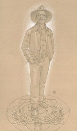 Paul Kidby's design for a Sir Terry Pratchett statue