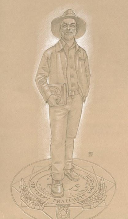 Paul Kidby's design for a Sir Terry Pratchett statue