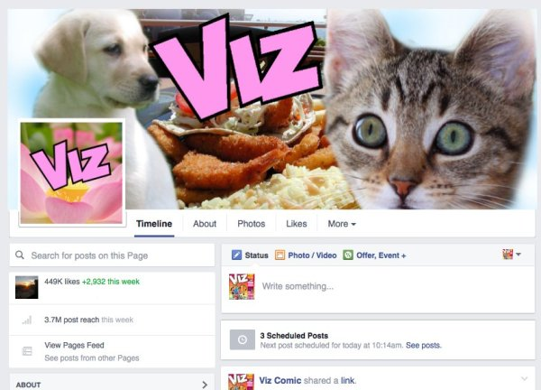 """VIZ has begun working on a more """"user friendly"""" look to its Facebook page..."""