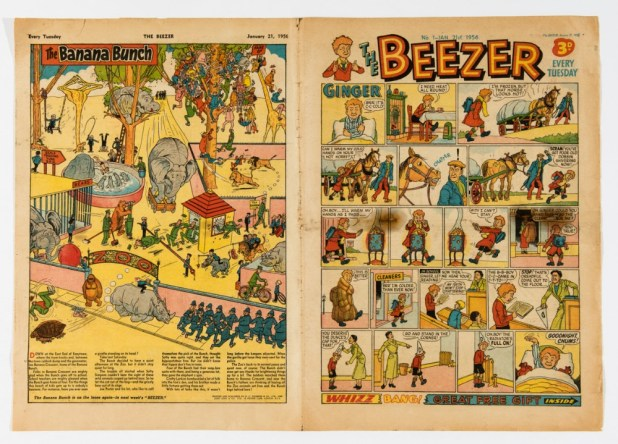 Beezer No 1 (1956), starring Ginger, Mick On The Moon, Pop, Dick and Harry.