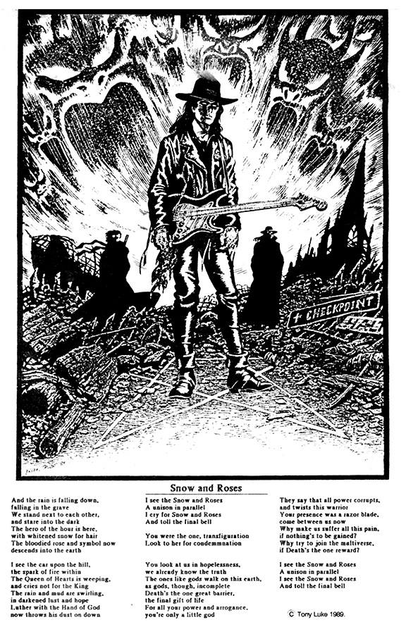 "Bryan Talbot drew this promo poster for Tony's then-band The Scream, and it was published in the Arkeology issue of the Luther Arkwright comic series due to the many Luther influences and references in the band's lyrics and visuals. ""Bryan even drew in my hat, bless him,"" noted Tony back in January."