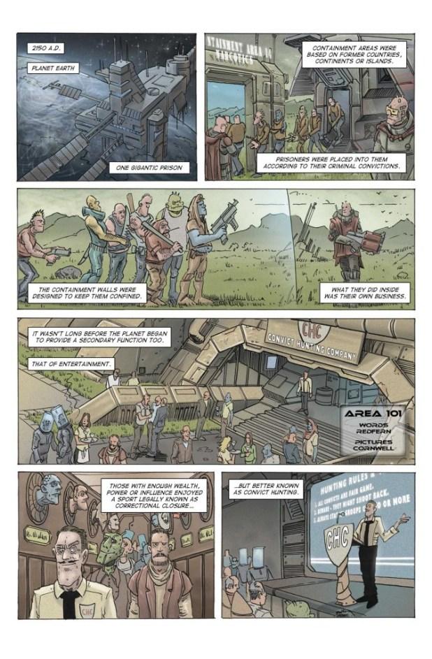 """""""Area 101"""", written by Chris Redfern, art by Dan Cornwell, lettered by Chris Redfern & Ken Reynolds"""