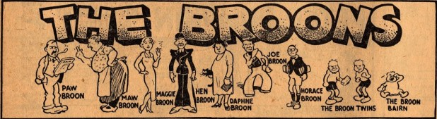 The opening panel of the first-ever The Broons, who were created by writer/editor R. D. Low and artist Dudley D. Watkins. The strip made its first appearance in the Sunday Post on 8th March 1936.