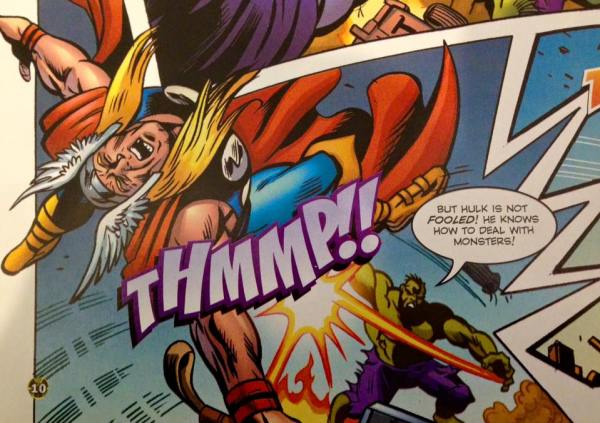 A dramatic panel from Jon - Hulk versus Thor!