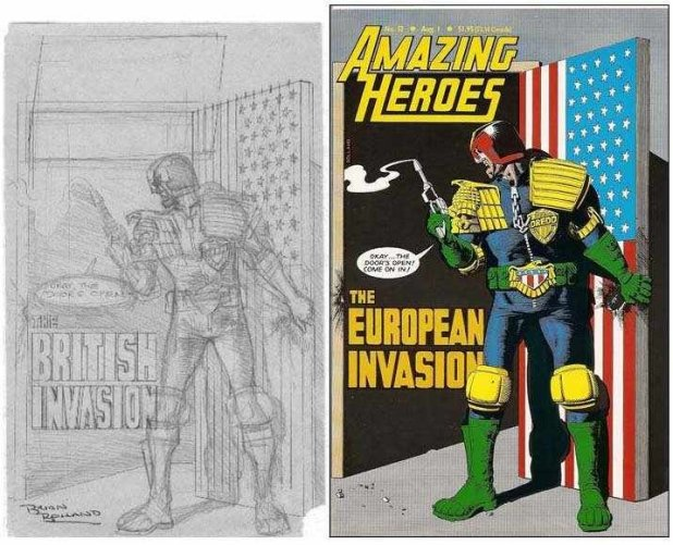 "Brian Bolland's Pencils and the final cover for Amazing Heroes #52, the pencils declaring a ""British Invasion"" of US comics"
