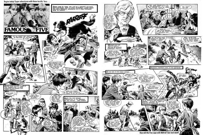 The first Famous Five strip in Look-In, drawn by Mike Noble.
