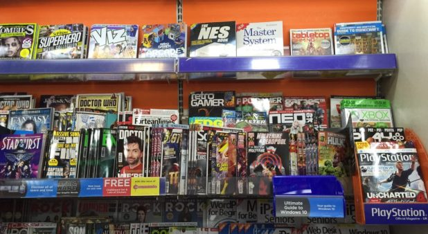 WHSmith Lancaster's 'teen title' section, which includes 2000AD, Panini and Titan's superhero titles and Commando