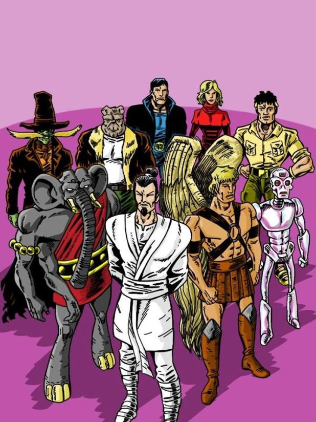 A roster of Paragon characters drawn by Stephen - Courtesy of Davey Candlish