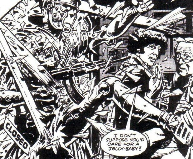 A panel from Doctor Who: The Iron Legion by Pat Mills and John Wagner, first published in Doctor Who Weekly #1. Art by Dave Gibbons.