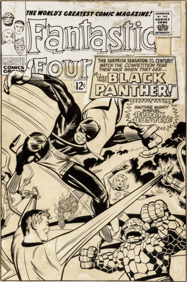 Jack Kirby and Joe Sinnott Fantastic Four #52 Unused First Black Panther Cover Original Art (Marvel, 1966).