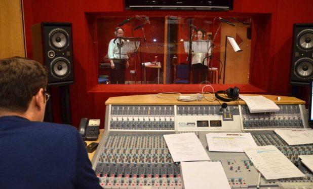 "Geoff McGivern and Heida Reed recording a scene in the Dan Dare audio adventure ""Marooned on Mercury"""