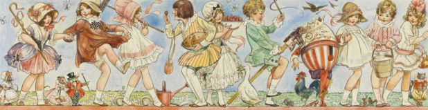 """The original endpapers for the 1916 edition of """"English Nursery Rhymes"""", sold at auction in 2015 for £1500. Art by Dorothy M. Wheeler"""