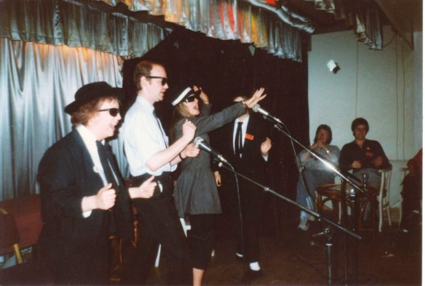 Heather Allen, me and Sophie Aldred as the 'Blues Brothers' at FALCON convention in Bath in the early 1990s. Yes, that's Paul Cornell in the background. Photo: Jean Riddler