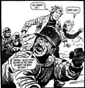 Schoolboy Tommy Baker confronts Argentinian soldiers when he is captured in Battle's Invasion!. Story by Terry Magee, art by Jim Watson. Battle © Rebellion Publishing Ltd.