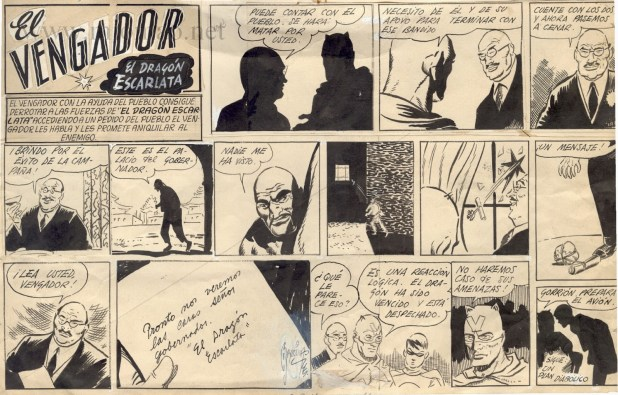 "An episode of ""El Vengador"" for El Gorion, published in 1939, drawn by Alberto Breccia"