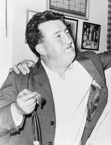 Derek Pierson encountered Irish writer Brendan Behan, in the 1950s, seen here in Jackie Gleason's dressing room at the show Take Me Along in 1960. Photo: Library of Congress Prints and Photographs Division. New York World-Telegram and the Sun Newspaper Photograph Collection