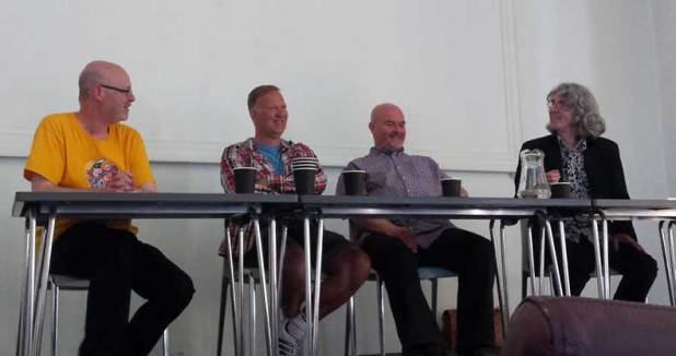Laughter on stage (and some from the audience, none of it nervous) with John Freeman, Joe Matthews, Lew Stringer and Tim Quinn