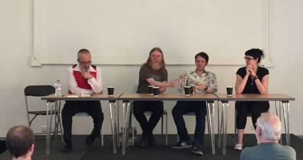 Author Austin Chambers chairs a lively panel on SF and fantasy books and games with Ken Walton (of Cakebread & Walton), Eddie Robson and JS Collyer