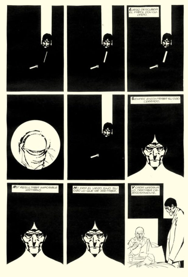 """A page from Alberto Breccia's distinctive 1977 adaptation of Edgar Allan Poe's story """"Tell Tale Heart"""""""