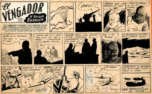 "An episode of ""El Vengador"" for El Gorion, published in 1945, drwan by Alberto Breccia"