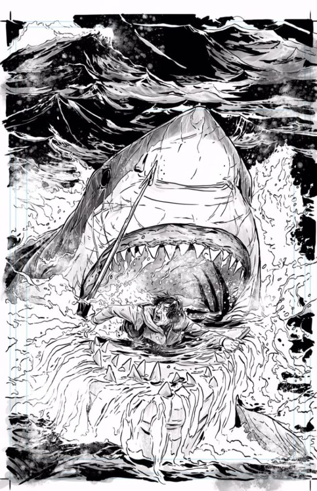 Marc Laming's inks for a Hook Jaw variant cover