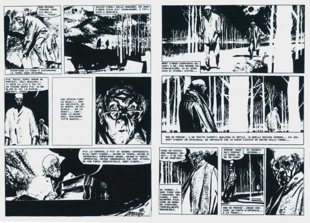 "Two pages from ""Mort Cinder"" showing the dramatic change in graphic direction that Breccia took with this series. In some of these frames it is evident that he has used a number of different approaches, including monotype techniques."