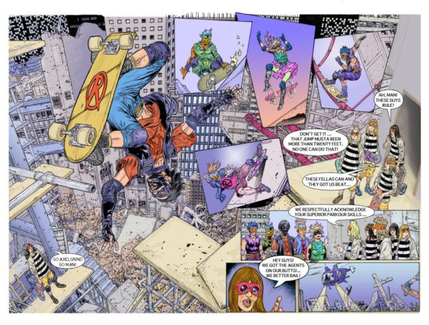 A spread from the Raptorz by Alan Mitchell and Glenn Fabry, which Alan and I discussed at Kapow in 2012. We were unable, incredibly, to find a home for the strip.