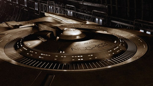 The newest Starfleet ship in the Star Trek TV franchise, the U.S.S. Discovery, unveiled during the San Diego Comic Con. Photo Credit: Courtesy of CBS Television Studio / ©2 016 CBS Television Studio. All Rights Reserved.