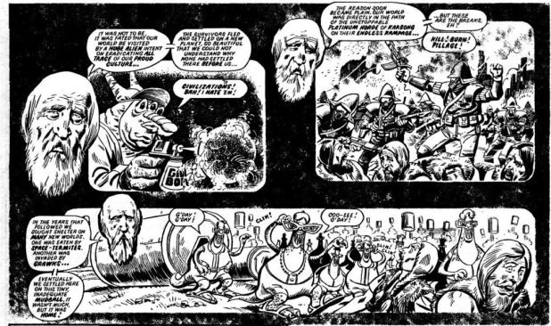 """The Double-Decker Dome Strikes Back,"" written by Alan Moore, art by Mike White, published in 2000AD Prog 237 in 1981"