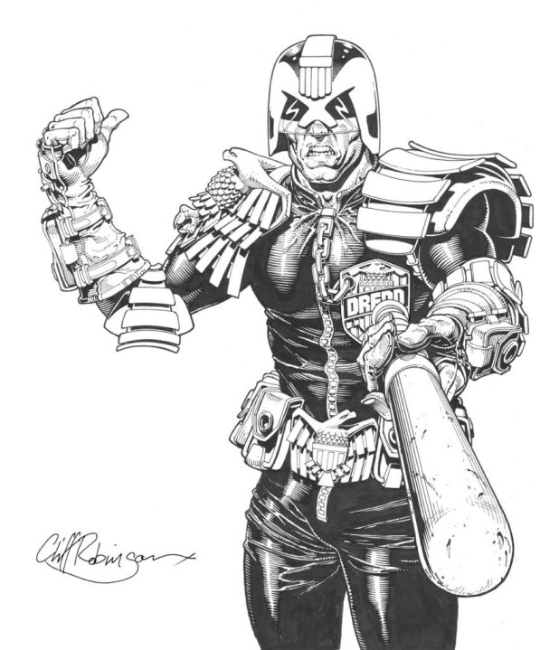 Judge Dredd cover art for 2000AD by Cliff Robinson