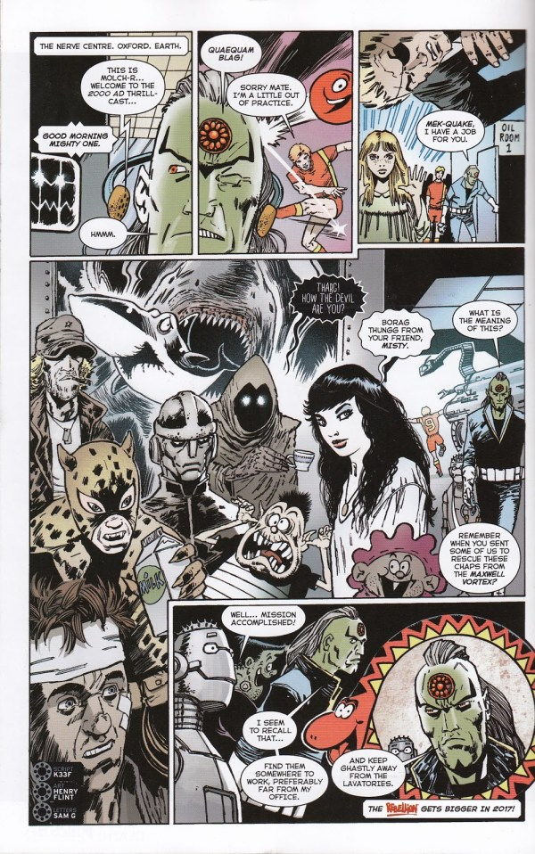 "A page from the 2000AD Free Comic Book Day 2017 giveaway, featuring numerous Fleetway characters now owned by Rebellion. In Panel One, Max, the computer from ""The Thirteenth Floor"", first published in Scream; Panel 2, Roy of the Rovers, Panel 3, Rosemary Black from the Misty story ""Moonchild"";  Panel Four, Major Eazy from ""Battle"", the Leopard of Lime Street (from Buster), Faceache, Charley Bourne (from ""Charley's War"" and Scream editor Ghastly McNasty and Misty editor, Misty, and more; and finally, in Panel 5, Sid's Snake from Whizzer and Chips"