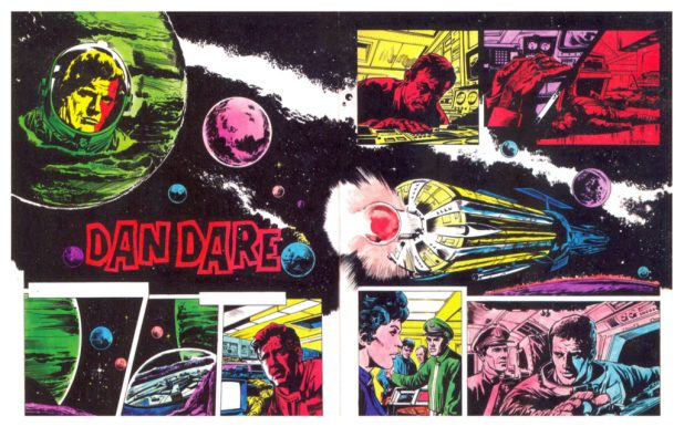 Some early Dan Dare test pages for 2000AD written by Ken Armstrong. Pat recalls an unidentified Argentine artist and Italian artists were commissioned to draw samples.